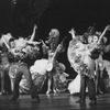 """Actors wearing ornately detailed costumes designed by Florence Klotz in a scene from the Broadway production of the musical """"Follies.""""."""