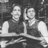 "(L-R) Actors John Glover and David Dukes in a scene from the Broadway production of the play ""Frankenstein.""."