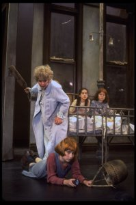 "(L-3L) Dorothy Loudon as Miss Hannigan, Shelley Bruce as Annie and Sarah Jessica Parker in a scene from the Broadway production of the musical ""Annie."""