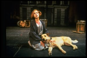 "Sarah Jessica Parker as Annie w. Sandy in a scene from the Broadway production of the musical ""Annie."""