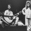 "Actors Bernadette Peters and Martin Short (naked while playing guitar) in a scene from the Broadway production of the musical ""The Goodbye Girl""."