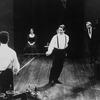 """Kevin Kline as Hamlet (C) about to duel in a scene from the NY Shakespeare Festival production of the play """"Hamlet""""."""