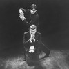 """(T-B) Kevin Kline as Hamlet about to stab Brian Murray as Claudius in a scene from the NY Shakespeare Festival production of the play """"Hamlet""""."""