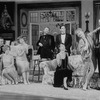 "(L-R) Actors Robert Joy, Deborah Rush, Mia Dillon, Roy Dotrice, Campbell Scott, Carolyn Seymour, Rosemary Harris and Charles Kimbrough in a scene from the Broadway production of the play ""Hay Fever"""