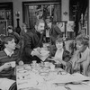 """(L-R) Actors Robert Joy, Carolyn Seymour, Deborah Rush, Roy Dotrice, Campbell Scott, Charles Kimbrough, Mia Dillon and Rosemary Harris in a scene from the Broadway production of the play """"Hay Fever"""""""