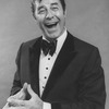 "Comic Jerry Lewis mugging in promo shot for the pre-Broadway tour of the musical revue ""Hellzapoppin""."