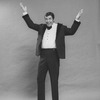 """Comic Jerry Lewis mugging in a promo shot for the pre-Broadway tour of the musical revue """"Hellzapoppin""""."""