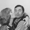 """Actress Lynn Redgrave kissing a mugging Jerry Lewis in a promo shot for the pre-Broadway tour of the musical revue """"Hellzapoppin""""."""