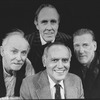 "Director Jose Quintero (B) surrounded by actors (R-L) Barnard Hughes, Jason Robards and Donald Moffat from the Broadway revival of the play ""The Iceman Cometh""."