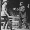 "Cleavon Little (R) wielding a knife in a scene from the Broadway production of the play ""I'm Not Rappaport"""