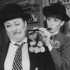 """(L-R) Aideen O'Kelly and Tandy Cronyn dressed as Laurel and Hardy in a scene from the Roundabout Theatre production of the play """"The Killing Of Sister George""""."""