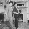 """(R-L) Aideen O'Kelly and Tandy Cronyn dressed as Laurel and Hardy in a scene from the Roundabout Theatre production of the play """"The Killing Of Sister George""""."""