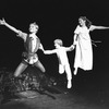 """Sandy Duncan (L) flying in a scene from the Broadway revival of the musical """"Peter Pan""""."""