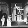 """Sandy Duncan (R) flying in a scene from the Broadway revival of the musical """"Peter Pan""""."""