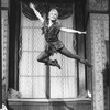 """Cathy Rigby flying in a scene from the Broadway revival of the musical """"Peter Pan""""."""