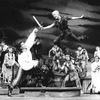 """Cathy Rigby and Stephen Hanan fighting in a scene from the Broadway revival of the musical """"Peter Pan""""."""