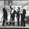 "(L-R) Ken Howard, Ron Liebman, Mark Nelson and Andre Gregory in a scene from the Broadway production of the play ""Rumors""."