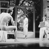 "(R-L) Mary Tyler Moore, Lynn Redgrave and Barry Tubb (posing naked) in a scene from the Broadway production of the play ""Sweet Sue""."