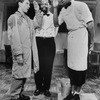 """Actors Lonny Price and Danny Glover saluting each other as actor Zakes Mokae looks on during scene from Athol Fugard's play """"Master Harold... and the Boys"""""""