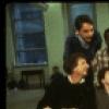 "Actors (Back L-R) Bob Gunton, Ron Richardson & composer Roger Miller, (Front L-R) actors Rene Auberjonois Daniel Jenkins in a rehearsal shot fr. the original cast of the Broadway musical ""Big River."" (New York)"