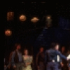 """Actors (4L-C) Martin Vidnovic, Laurence Guittard, Christine Andreas & Mary Wickes (3R) w. cast in a scene fr. the Broadway revival of the musical """"Oklahoma!."""" (New York)"""