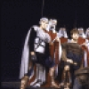 """Actor Donald Moffat (C) with cast members in a scene from the New York Shakespeare Festival production of the play """"Titus Andronicus"""" at the Delacorte Theatre in Central Park. (New York)"""