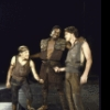 """Actors (L-R) Steve Pickering, Keith David and Don Harvey in a scene from the New York Shakespeare Festival production of the play """"Titus Andronicus"""" at the Delacorte Theatre in Central Park. (New York)"""