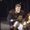 """Actors (L-R) Donald Moffat, Keith David and Kate Mulgrew with director Michael Maggio in a publicity shot for the New York Shakespeare Festival production of the play """"Titus Andronicus"""" at the Delacorte Theatre in Central Park. (New York)"""