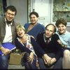 """Actors (L-R) Brian Murray, Dorothy Loudon, Victor Garber, Paxton Whitehead & Linda Thorson in a rehearsal shot fr. the Broadway production of the play """"Noises Off."""" (New York)"""