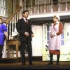 """Actors (L-R) Deborah Rush, Victor Garber & Dorothy Loudon in a scene fr. the Broadway production of the play """"Noises Off."""" (New York)"""