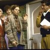 "Actors (L-R) Douglas Seale, Linda Thorson, Amy Wright & Brian Murray in a scene fr. the Broadway production of the play ""Noises Off."" (New York)"