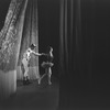 "New York City Ballet production of ""Native Dancers"" with Jacques d'Amboise and Patricia Wilde taking a bow in front of curtain, choreography by George Balanchine (New York)"
