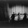 """New York City Ballet production of """"Episodes"""" with Martha Graham and Sallie Wilson and Bertram Ross in front of curtain, choreography by Martha Graham (New York)"""