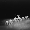 "New York City Ballet production of ""Concerto Barocco"" Suzanne Farrell leaps in front of line of girls, choreography by George Balanchine (New York)"