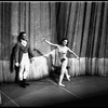 "New York City Ballet production of ""The Chase"" with Andre Prokovsky and Allegra Kent taking bow in front of curtain, choreography by Jacques d'Amboise (New York)"