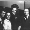 New York City Ballet dancer Maria Tallchief is visited backstage by Joan Sutherland and (Joan's) husband, conductor Richard Bonynge and George Balanchine (New York)