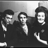 New York City Ballet dancer Anthony Blum (C) is visited backstage by Joan Sutherland and her husband, conductor Richard Bonynge (New York)