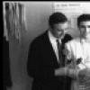 "New York City Ballet production of ""Dim Lustre"" costumer Beni Montressor with Patricia McBride, Edward Villella and choreopgrapher John Taras in dressing room, choreography by Antony Tudor (New York)"