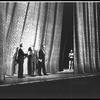 "New York City Ballet production of ""Clarinade""; taking a bow in front of curtain are composer Morton Gould, George Balanchine, and Benny Goodman, choreography by George Balanchine (New York)"