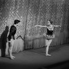 "New York City Ballet production of ""Jewels"" (""Rubies"") with Edward Villella and Patricia McBride taking a bow in front of curtain, choreography by George Balanchine (New York)"