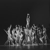 "New York City Ballet production of ""Metastaseis and Pithoprakta"" with Merrill Ashley lifted center, choreography by George Balanchine (New York)"