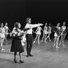 """New York City Ballet production of """"Chopiniana"""", Alexandra Danilova takes a bow with Peter Martins and dancers, staged by Alexandra Danilova after Michel Fokine (New York)"""