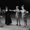 """New York City Ballet production of """"Piano-Rag-Music"""" with Joseph Duell presenting flowers to Madame Madeleine Malraux, dancers John Clifford and Gloria Govrin, choreography by Todd Bolender (New York)"""