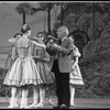 """New York City Ballet Production of """"The Magic Flute"""", George Balanchine checks costumes on dancers, choreography by Peter Martins (New York)"""