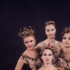 "New York City Ballet - Studio photo of (L-R) Violette Verdy, Patricia McBride (front), Suzanne Farrell and Mimi Paul in ""Jewels"", choreography by George Balanchine (New York)"