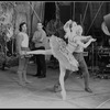 """New York City Ballet production of movie version of """"A midsummer Night's Dream"""" with Nicholas Magallanes watching George Balanchine rehearse Patricia McBride, choreography by George Balanchine (New York)"""