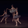 """New York City Ballet production of """"Fanfare"""" with Laura and Elise Flagg, center Elyse Borne, choreography by Jerome Robbins (New York)"""